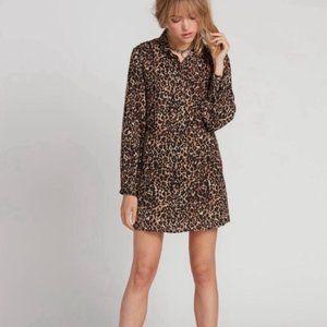 Volcom Fad Friend Leopard Button Down Shirt Dress